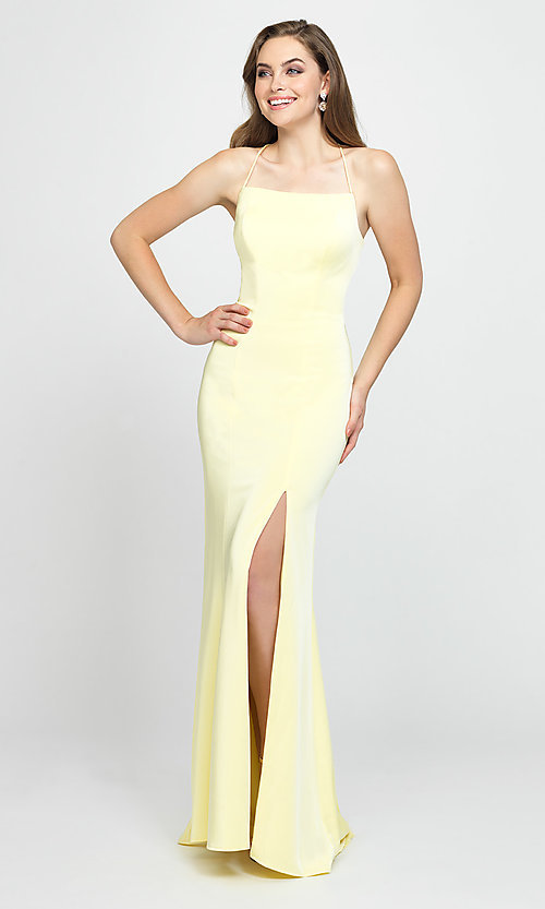 Image of long open-back Madison James prom dress. Style: NM-19-185 Front Image