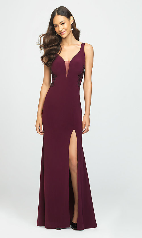Image of embroidered-bodice long Madison James prom dress. Style: NM-19-191 Front Image
