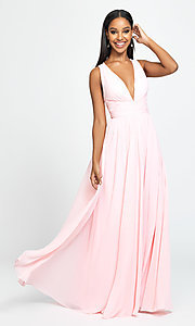 Image of Madison James v-neck long ruched prom dress. Style: NM-19-193 Detail Image 3