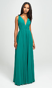 Image of Madison James v-neck long ruched prom dress. Style: NM-19-193 Front Image