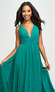 Image of Madison James v-neck long ruched prom dress. Style: NM-19-193 Detail Image 1