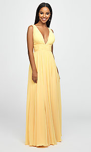 Image of Madison James v-neck long ruched prom dress. Style: NM-19-193 Detail Image 5