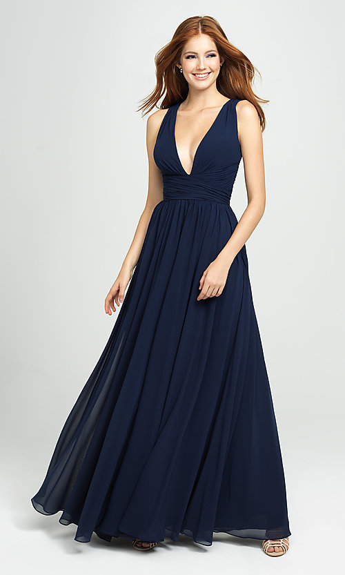 Image of Madison James v-neck long ruched prom dress. Style: NM-19-193 Detail Image 6