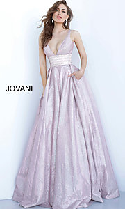 Image of Jovani long glitter rose prom dress with pockets. Style: JO-4683 Front Image