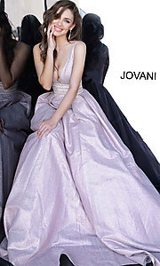 Image of Jovani long glitter rose prom dress with pockets. Style: JO-4683 Detail Image 1
