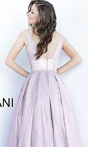 Image of Jovani long glitter rose prom dress with pockets. Style: JO-4683 Detail Image 2