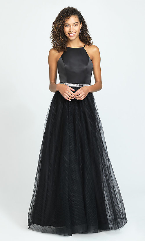 Image of a-line long black prom dress by Madison James. Style: NM-19-196 Front Image
