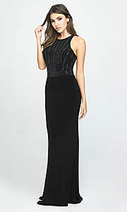 Image of long high-neck prom dress with beaded bodice. Style: NM-19-197 Detail Image 4