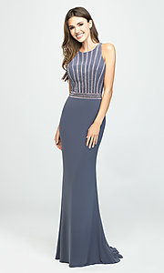 Image of long high-neck prom dress with beaded bodice. Style: NM-19-197 Detail Image 2