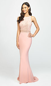 Image of long high-neck prom dress with beaded bodice. Style: NM-19-197 Front Image