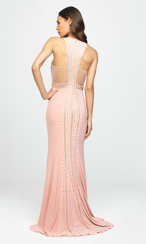 Image of long high-neck prom dress with beaded bodice. Style: NM-19-197 Back Image