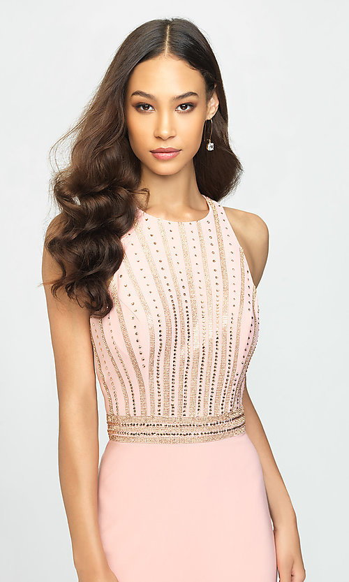 Image of long high-neck prom dress with beaded bodice. Style: NM-19-197 Detail Image 1