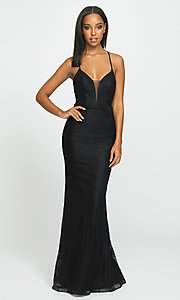 Image of long lace prom dress by Madison James. Style: NM-19-199 Front Image