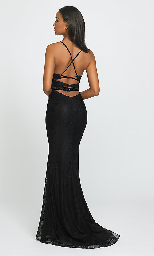 Image of long lace prom dress by Madison James. Style: NM-19-199 Back Image