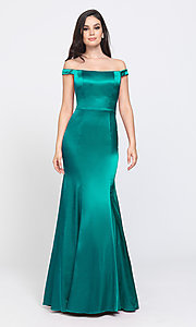 Image of off-the-shoulder long Madison James prom dress. Style: NM-19-200 Detail Image 3