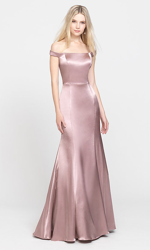 Image of off-the-shoulder long Madison James prom dress. Style: NM-19-200 Detail Image 2