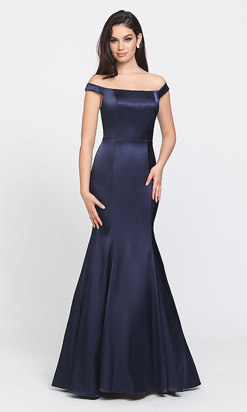 Image of off-the-shoulder long Madison James prom dress. Style: NM-19-200 Front Image