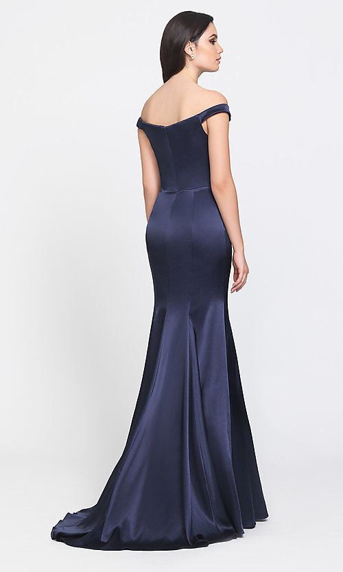 Image of off-the-shoulder long Madison James prom dress. Style: NM-19-200 Back Image