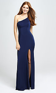 Image of long one-shoulder prom dress by Madison James. Style: NM-19-205 Detail Image 2