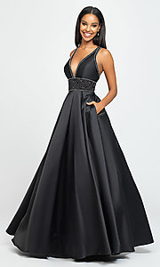 Image of a-line long Madison James v-neck prom dress. Style: NM-19-206 Detail Image 1