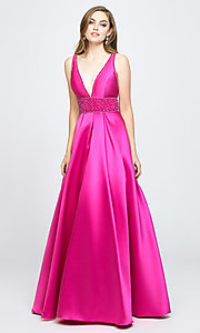 Image of a-line long Madison James v-neck prom dress. Style: NM-19-206 Front Image
