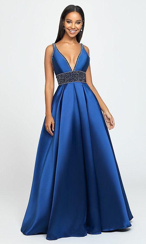 Image of a-line long Madison James v-neck prom dress. Style: NM-19-206 Detail Image 2