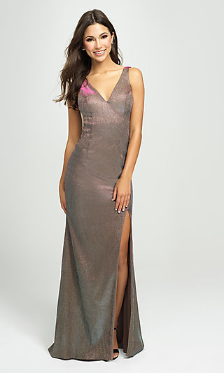Long Metallic V-Neck Madison James Prom Dress