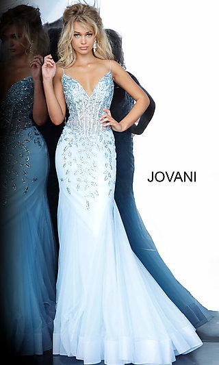 Long Mermaid-Style Jovani Prom Dress with Beading