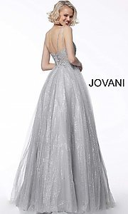 Image of long glitter ball-gown-style formal prom dress. Style: JO-67051 Back Image