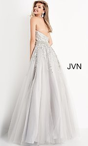Image of embroidered JVN by Jovani ball gown prom dress. Style: JO-JVN-JVN00923 Back Image