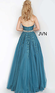 Image of embroidered JVN by Jovani ball gown prom dress. Style: JO-JVN-JVN00923 Detail Image 4