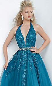Image of embroidered JVN by Jovani ball gown prom dress. Style: JO-JVN-JVN00923 Detail Image 1