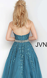 Image of embroidered JVN by Jovani ball gown prom dress. Style: JO-JVN-JVN00923 Detail Image 2