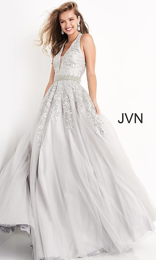 Image of embroidered JVN by Jovani ball gown prom dress. Style: JO-JVN-JVN00923 Front Image