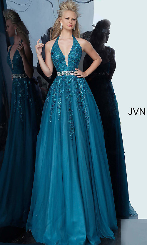 Image of embroidered JVN by Jovani ball gown prom dress. Style: JO-JVN-JVN00923 Detail Image 3
