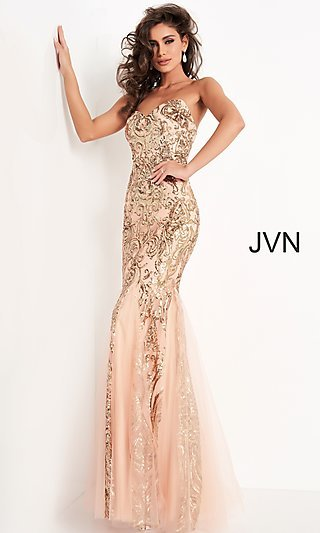 Long Sequin Designer Prom Dress from JVN by Jovani
