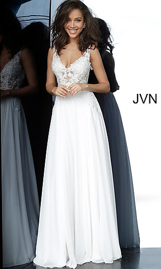 V-Neck Prom Dress with a Sheer Embroidered Bodice