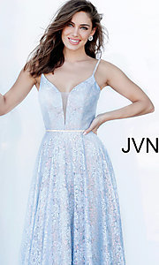 Image of JVN by Jovani light blue long lace prom dress. Style: JO-JVN-JVN03111 Detail Image 1