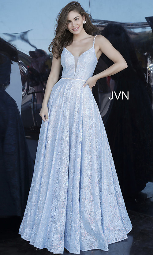 Image of JVN by Jovani light blue long lace prom dress. Style: JO-JVN-JVN03111 Front Image