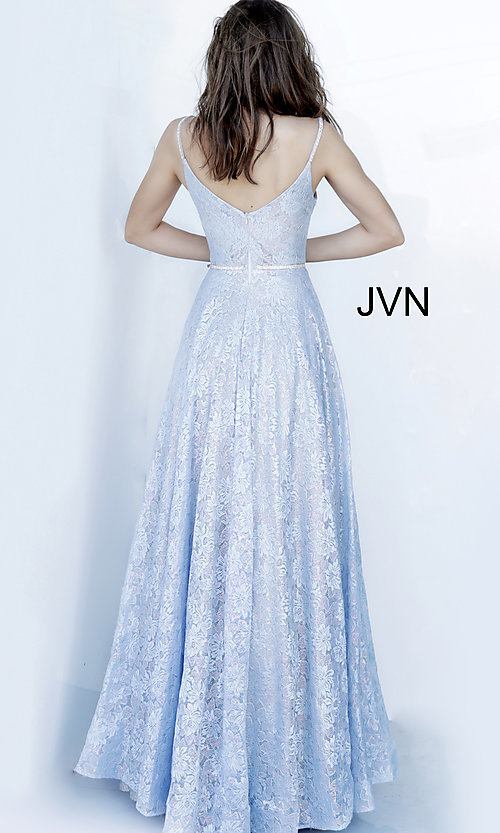 Image of JVN by Jovani light blue long lace prom dress. Style: JO-JVN-JVN03111 Back Image