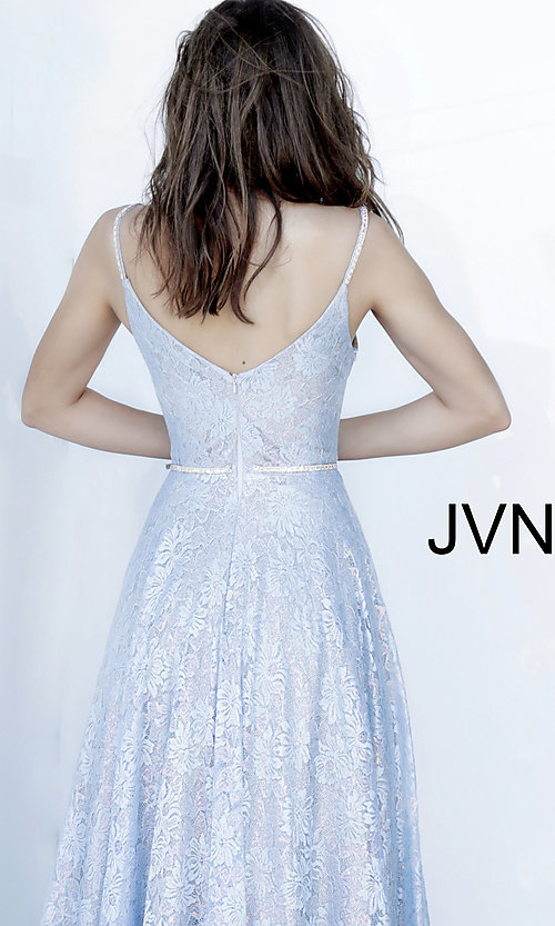 Image of JVN by Jovani light blue long lace prom dress. Style: JO-JVN-JVN03111 Detail Image 2