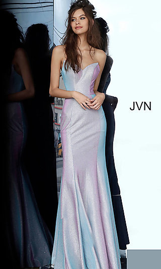 Long Iridescent Lilac Strapless Prom Dress