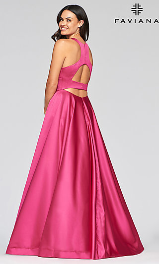 Long Satin A-Line Prom Dress with Back Cut-Outs