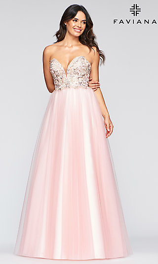 Long Ballgown-Style Strapless Prom Dress by Faviana