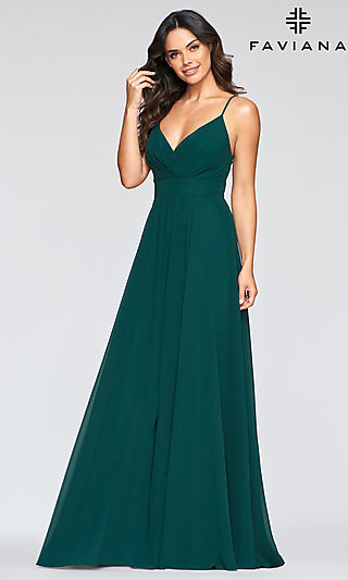Long Chiffon V-Neck Empire-Waist Prom Dress