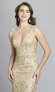Image of v-neck long Dave and Johnny formal prom dress. Style: DJ-A7787 Detail Image 1