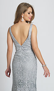 Image of v-neck long Dave and Johnny formal prom dress. Style: DJ-A7787 Detail Image 2