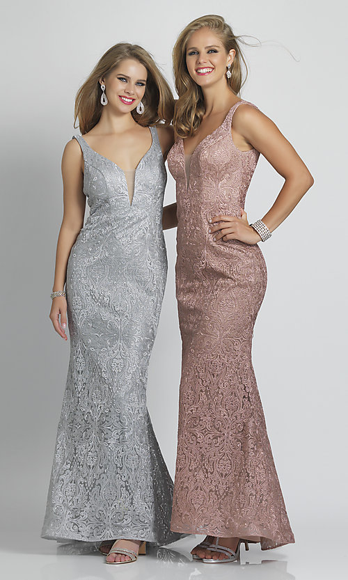 Image of v-neck long Dave and Johnny formal prom dress. Style: DJ-A7787 Front Image