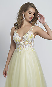 Image of long open-back ball-gown-style yellow prom dress. Style: DJ-A8448 Detail Image 1