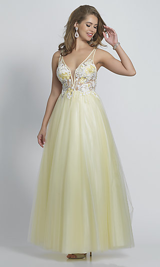 Long Open-Back V-Neck Ballgown-Style Prom Dress